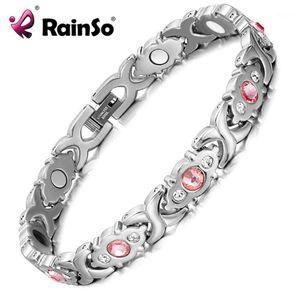 Rainso mujer pulsera brillante cristal acero inoxidable moda joyería salud magnético holograma pulsera encanto cadena link bangle1