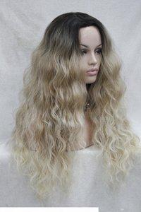 Hivision Hot Quality Хороший синтетический черный корню до блондинки омбре кружева переднего парика длинные волнистые парики