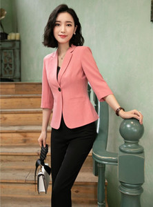 Novelty Pink Formal Business Suit With Jackets And Pants 2020 Spring Summer Women Office Work Wear Blazers Pantsuits Pants Suits