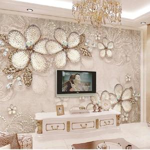 3D Wallpaper Custom 3d Mural Wallpaper Gray Diamond Pattern Background Flowers Living Room Painting Wallpapers