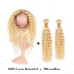 Малазийский человеческих волос # 613 Blonde Deep Wave 2Bundles и 360 Кружева Фронтальная 22.5x4x2 Bleach Блонд ткет волос с 360 фронтальным Закрытие