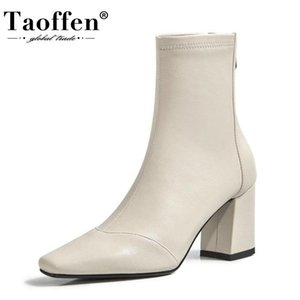 TAOFFEN Women Ankle Boots Fashion Zipper Thick High Heel Winter Shoes Woman Casual Daily Office Lady Short Boot Size 34-39