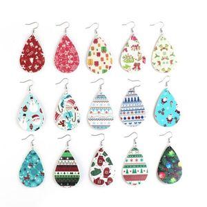 크리스마스 크리스마스 오래된 벨 인쇄 가죽 귀걸이 워터 드롭 가죽 귀걸이 메리 크리스마스 귀걸이 파티 호의 T2C5301
