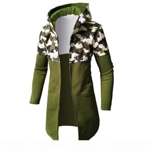 Erkek Tasarımcı Giysi Casual Hoodies Tişörtü Fermuar 2020 Sonbahar Erkekler Ceketler Kapüşonlu Yaka Panelli Kamuflaj Açık Palto Dış Giyim