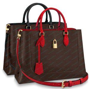 Çanta çanta yeni moda çanta moda çiçek mektup kilit deri omuz / crossbody çantası 34.0 x 24.0 x 13.0 cm
