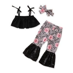 Summer baby girls suits leopard infant outfits rose flower girls outfits baby girl clothes tank tops+sequin flared trousers+ headbands B2182