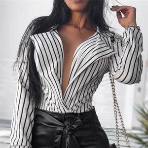 Deep em V-Decote Camisas Chemisier Blusas Muler Elegantest Feminino Manga Longa Blusa Mulheres Listrado Blusa Camisa Casual Tops