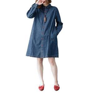 Risvolto monopetto casuale Donna Denim Giacca Large Size primavera Vestido allentati dei jeans casual f628 allentato cardigan Blusa
