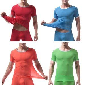 Men's Skinny Undershirt Male Ice Silk Sheer Short Sleeves Sexy Gym Fitness Bodybuilding T Shirts Gay Mesh Breathable Underwear