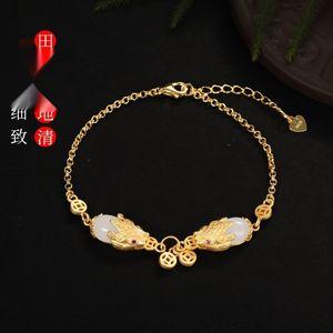 L'oro Dudu 925 intarsiato di gioielli Double Black e BraceletBracciale Tian giada intaglio decorato piccolo regalo mano Hanfu ragazza Bracciale 4nf35