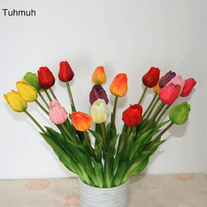 10pcs Real Touch Latex Artificial Tulip Flowers with Leaves Fake Flower with Leaves Wedding Decoration Bouquet Home Vase Decor
