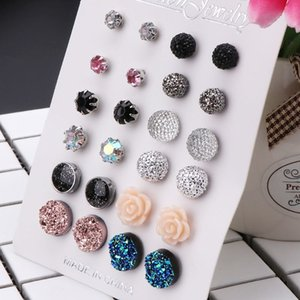 12 Pairs Fashion Women Earrings Assorted Crystals Druzy Stone Resin Stone Round Stud Earrings Set