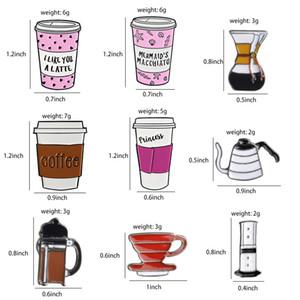 New Tudo sobre Coffee Bean Pot Cup Latte Cappuccino Broches Bag lapela roupas emblema Barista