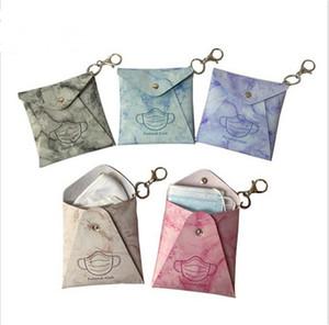 Mask Storage Bag Keychains Portable PU Protective Face Mask Cover Keyring Holder Case Fashion Key Chains Bag Pendants Supplies E122406