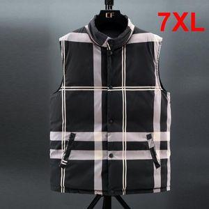 Men's Vests 7XL Big Size Stripe 2021 Winter Thick Vest Men Casual Fashion Two Sides Sleeveless Jacket Coats Male Waistcoat HX525