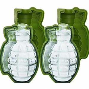Green 3D Grenade Shape Ice Cube Mold Creative Ice Cream Maker Drinks Silicone Trays Molds Kitchen Bar Tool Party Mens Gift GWE4507
