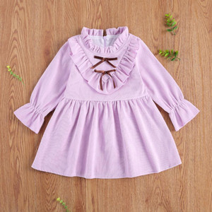 Pudcoco Toddler Baby Girl Dress Fashionable Corduroy One-piece Dress Solid Color Lace Falbala Collar Long Sleeve Bow Daily Life