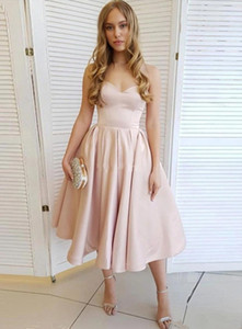 Simple Tea Length Short Homecoming Dresses Sweetheart Bridesmaid Dress Zipper Back Satin A Line Cheap Cocktail Party Graduation Gowns