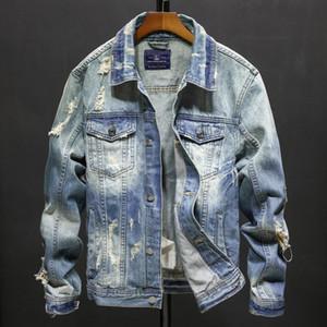 Strappato Jean Jacket Hip denim Giacche Uomo del cowboy dimagriscono uomo Bomber Hop Streetwear Coats