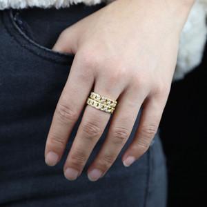 Micro alta qualità ha aperto cz anelli della catena cubani con anello di nozze banda aperta di colore dell'oro per le donne signora anello della fascia di barretta registrabile