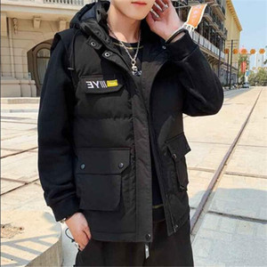 Down Jacketcasual Mens Autumn Winter Men's Warm Sleeveless Jacket Casual Waistcoat Cotton Vest Hooded Coat