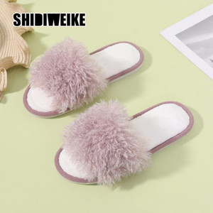 2021 femmes pantoufles à fourrure femmes chaussures mignons peluches sandales moelleuses pantoufles de femmes printemps automne chaleureuse vb086