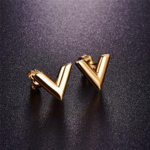 tasarımcının küpe 316L Paslanmaz Çelik Küpe İçin Kadınlar Rose Gold renkli Marka V Harf Üçgen Sevimli Stud Küpe Takı Hediye