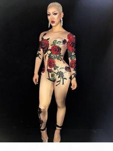 Women Jumpsuit female Bodysuit sexy costume Bright Crystals Rose Flower Rhinestones for singer dancer nightclub Stage dj Party performance