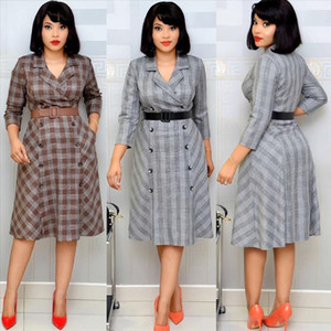 HGTE 2020 plus Größe grau afrikanischen Frauen kleiden Printed Plaid OL Büroarbeit Kleid Freie Gürtel