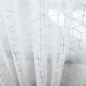 1PCS White Curtains Metallic Trellis Gold Foil Curtain for Living and Bedroom Summery Romantic Vibe Set