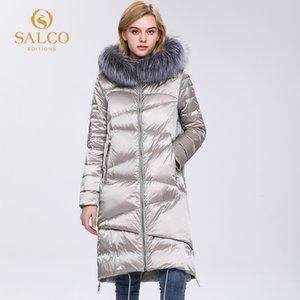 Salco Envío gratis El último abrigo de piel real de invierno de invierno de algodón de algodón de perlas grande.