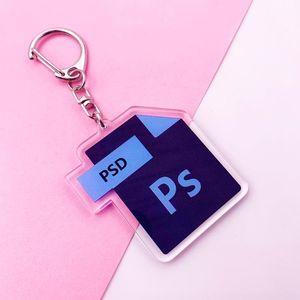 Mignon Bureau Cartoon Logiciel Acrylique Keychain PS Ai Excel Sac Charm pendentif porte-clés Accessoires Porte-clés en acier inoxydable