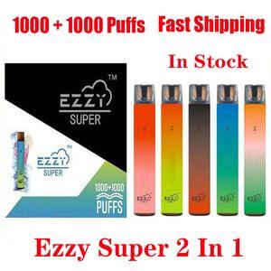 Ezzy Super 2 in 1 disegno monouso kit del dispositivo 2000 Puff 900mAh 6.5ml Pod preriempita Vape penna VS Kangvape Onee Bang Bar Inoltre XXL Max Portata