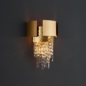 Modern  Gold Metal Crystal Wall Light Restaurant Bar Living Room Bedroom Decor Wall Lamp WA236