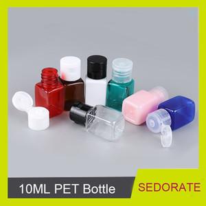 Sedorate 50 PC / porción al por mayor de la botella 10ML Plaza PET Con Flip Flap Cap Vacío envases cosméticos Caso Loción FN028