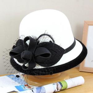 Mingli Tengda British Top Hat Women's Winter Woollen Net Yarn Leaf Flowerpot Felt Hat Fascinator Fedora Chapeau Cap Hats