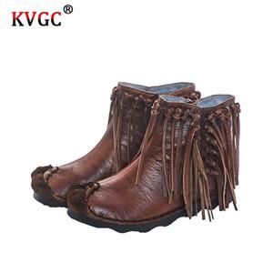 KVGC automne et d'hiver style nouveau dames design exquis en cuir de haute qualité de la mode rétro bottes marron pompon cheville faible talon