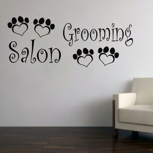 Personalised Grooming Salon Wall Decals Animal Art Wall Vinyl Decors Wall Stickers Cute Puppy Dog Pet Shop Tattoo Removable