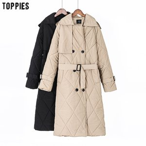 Toppies Winter Women Long Coat Puffer jacket Double Breasted Parkas Thicker Warm Outwear