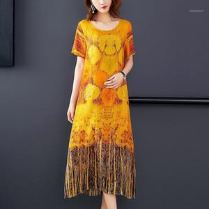 Plus Size Summer Women Printed Dress Elegant Robe Vestidos Short Sleeved Soft Silk Dress Ladies High Quality Midi Long Dresses1
