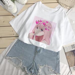 Kawaii summer womens top chic Japanese cute cartoon printed loose T shirt ins Harajuku vintage O collar fashion ulzzang T shirt