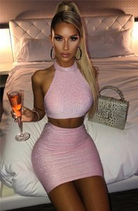 Belly Buttom Two Piece Dress New Womens Two Piece Sets Summer Women Two Piece Dress Fashion Sexy Slim Halter