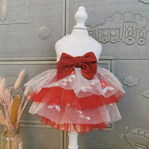 Free Shipping Handmade Dog Clothes Princess Tutu Short Evening Dress Shine Big Bow More Layers Bubble Skirt Pet Ball Gown Poodle
