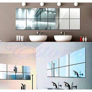 Wholesale-16pcs Autoadesivo Specchi decorativi Piastrelle Adesivi murali a specchio Jllqya Soif
