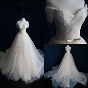 Ivory Off Shoulder Princess Wedding Dresses 2020 New Boho Beach Wedding Dress Bridal Gowns Custom Made Robe De Mariee