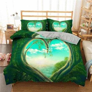 Têxtil 3d Set Adultos Quarto tamanho do coração Roupa de cama Cama Impresso Folhas verdes da planta Rei Tropical Início rainha bbycKM lg2010