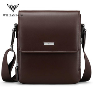Hombre Bolso Crossbody Bolsa de hombro del bolso WilliamPolo de los hombres de cuero auténtico bolsa de mensajero ocasional con estilo retro