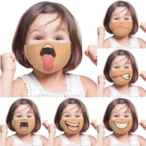 NEW Unisex 3D Funny Face Printed Masks Adult Kids Windproof Washable Reusable Cotton Adjustable Mouth Mask Party Masks 9072