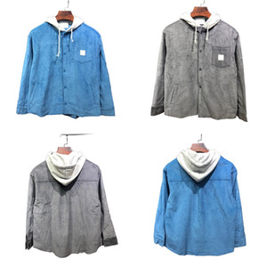 Fashion New Motorcycle Pure Cotton Corduroy Hooded Single-breasted Shirt Sports Blue And Grey Jacket Coat Loose Mens And Womens Tops