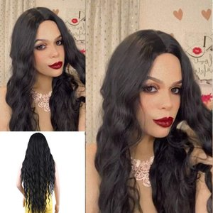 Women's Long Curly Wig Black Water Wave Wig Synthetic Wig Long Middle Heat-resistant Hair Daily Party Use